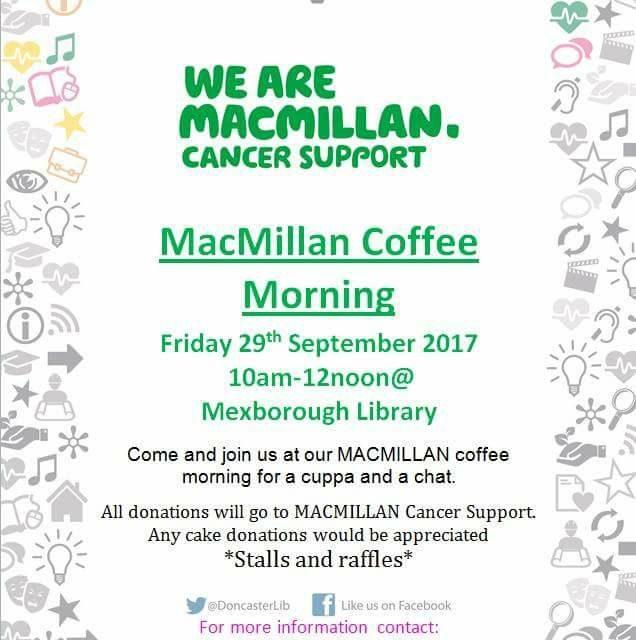 Macmillan Coffee Morning Friday 29th September 2017